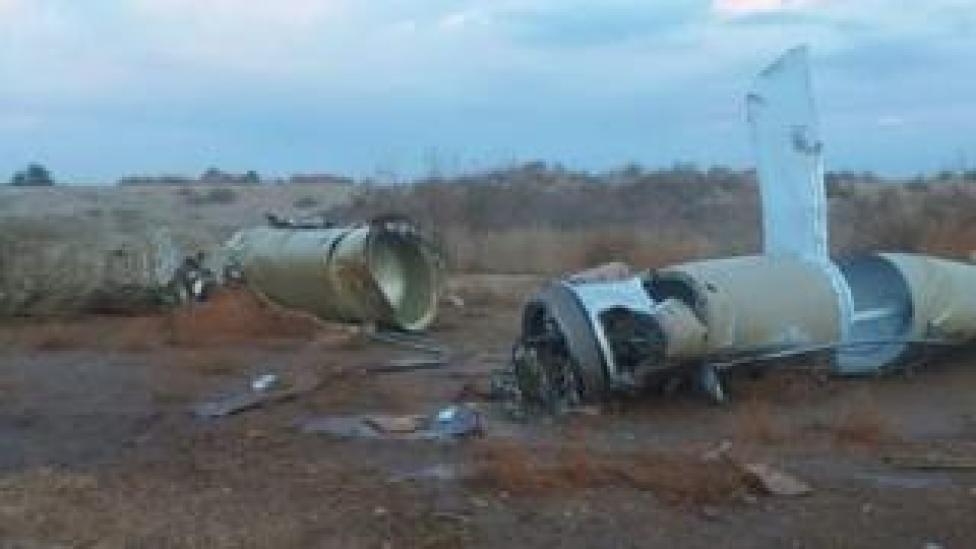 trump Pieces of Iranian missile near town of al-Baghdadi, Iraq - 8 January 2020