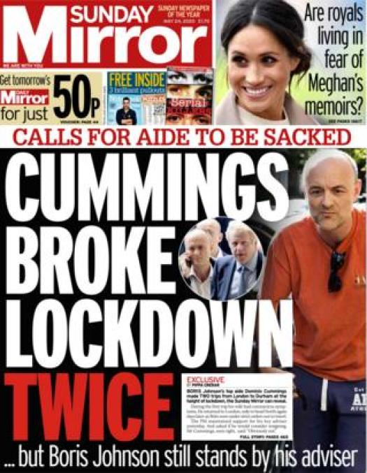 Sunday Mirror front page 24 May