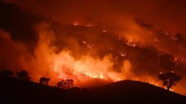 A view of the Dunn Road fire in NSW