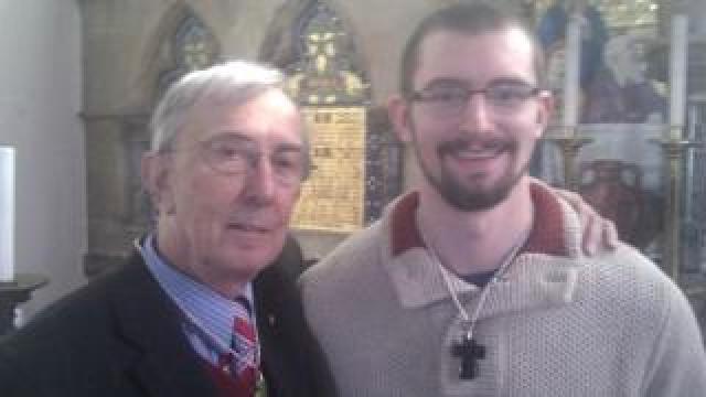 Benjamin Field standing next to novelist Peter Farquhar