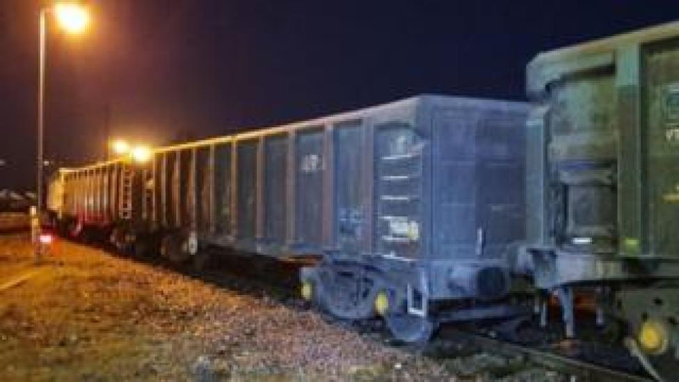 Derailed freight train