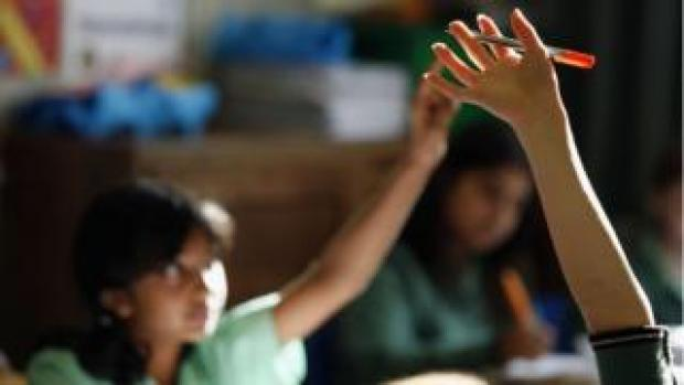 Pupils raise hands in class