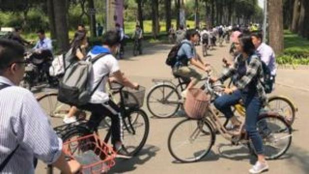 Bike-sharing bikes in Shanghai