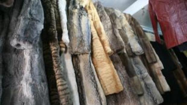 Fur coats on a rack