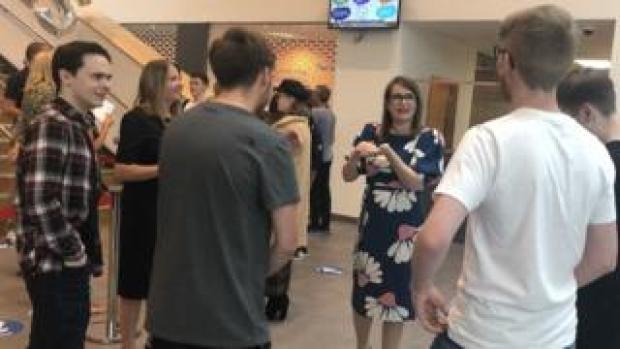 Education Minister Kirsty Williams meets students at Merthyr College