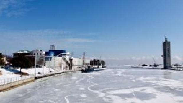 Shot of frozen Lake Michigan