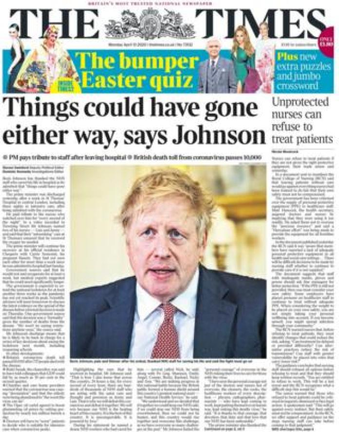 The Times front page 13 April
