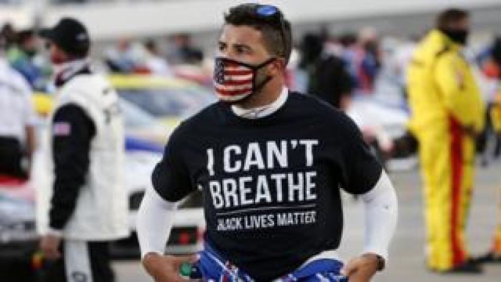 sport Bubba Wallace wears a Black Lives Matter shirt at Martinsville Speedway. 10 June 2020