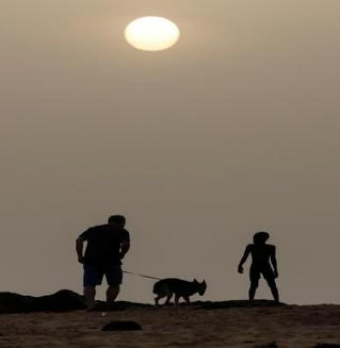 A man walks with his pet dog at the beach before the curfew in Senegal