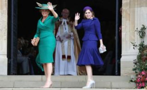 """Sarah Ferguson and Princess Beatrice arrives for the wedding of Princess Eugenie to Jack Brooksbank at St George""""s Chapel in Windsor Castle"""