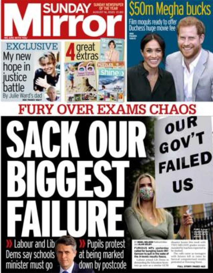 The Sunday Mirror front page August 16, 2020