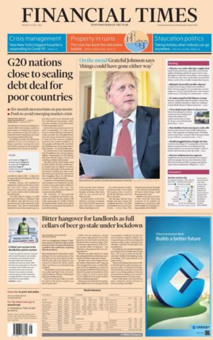 The Financial Times front page 13 April