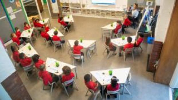 Children back in class at a school in Southwark