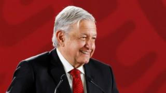 Mexican President Andrés Manuel López Obrador attends a press conference at the National Palace, in Mexico City, Mexico, 11 March 2019.