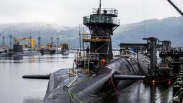 """Vanguard-class submarine HMS Vigilant, one of the UK""""s four nuclear warhead-carrying submarines."""