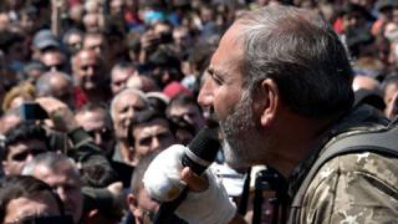 Nikol Pashinyan speaking during an opposition rally in central Yerevan, 17 April