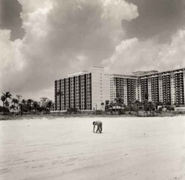 A person exercises on Miami Beach