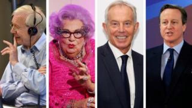 John Humphrys, Dame Edna Everage, Tony Blair and David Cameron