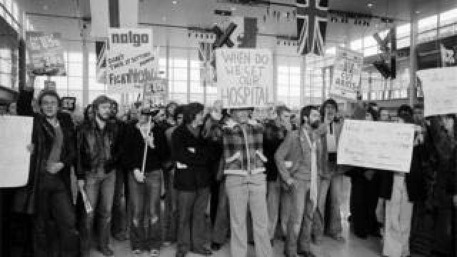 Protesters in a Milton Keynes shopping centre awaiting Margaret Thatcher on 25 September 1979