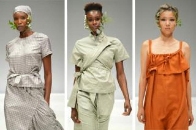 Models dressed in neutral tones and wearing flower garlands parade on the catwalk at the Amanda Laird Cherry Show on the first day of South Africa Fashion Week, 3 April 2019, in Sandton, South Africa (composite image)