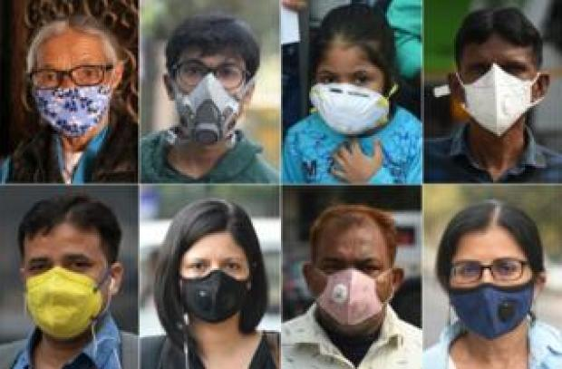 This combination of pictures created on November 6, 2018 shows people wearing face masks to protect themselves against air pollution in Delhi