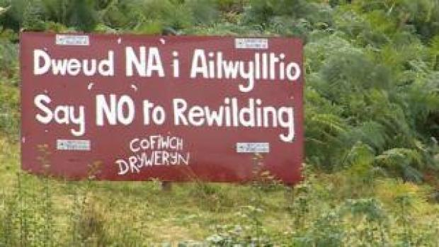A sign put up in Machynlleth by opponents of the Summit to Sea project