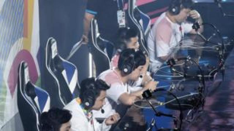 Chinese team competes against Thai team during a match of Esports Demonstration Event 'Arena of Valor' on day eight of the Asian Games on August 26, 2018 in Jakarta, Indonesia.
