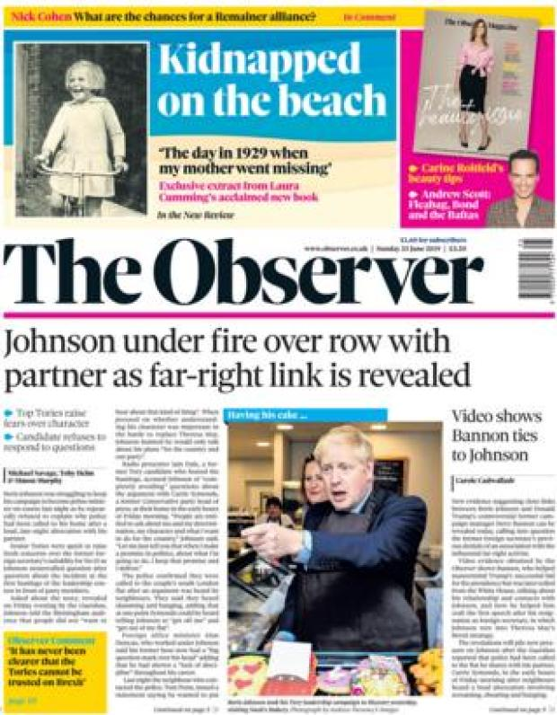 The Observer front page 23.06.19