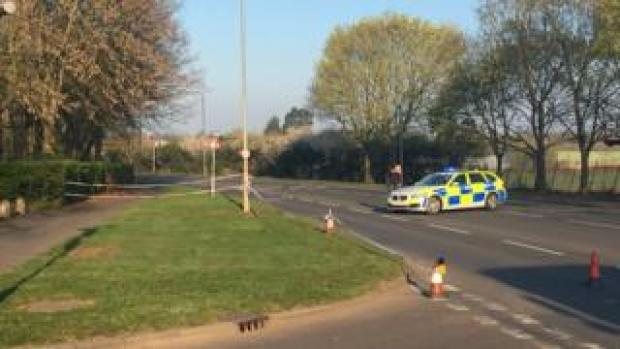 The police cordon at Waltham Abbey