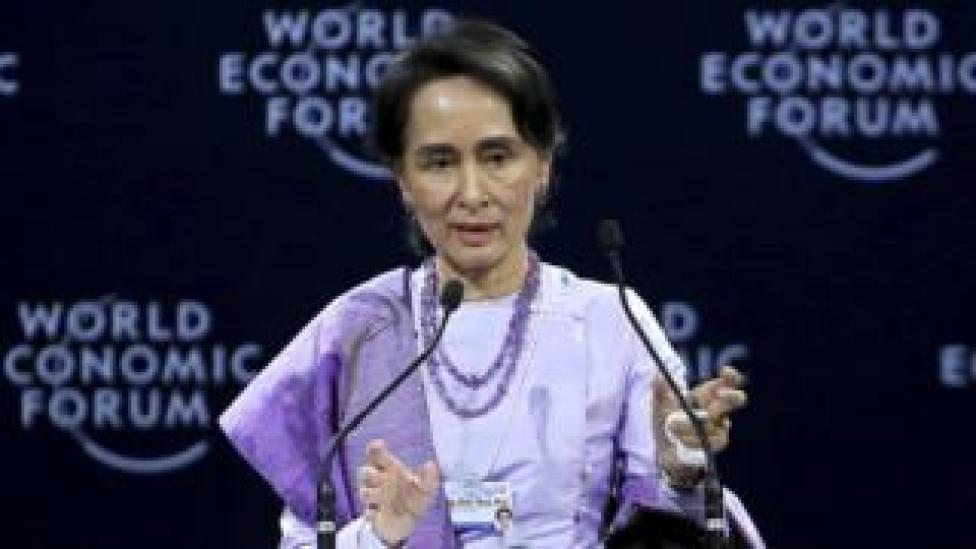 Aung San Suu Kyi gives a speech