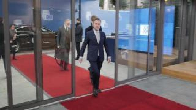 Foreign Office Minister Chris Pincher arriving in Brussels