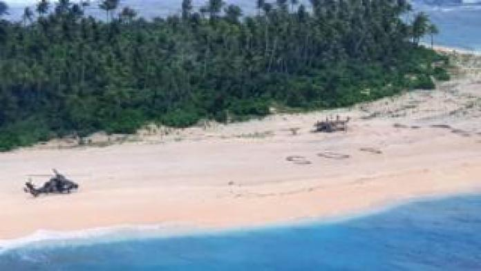An Australian army helicopter lands on Pikelot Island in Micronesia