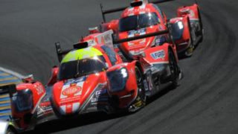 Two cars from the Manor Motorsport team at Le Mans 2017
