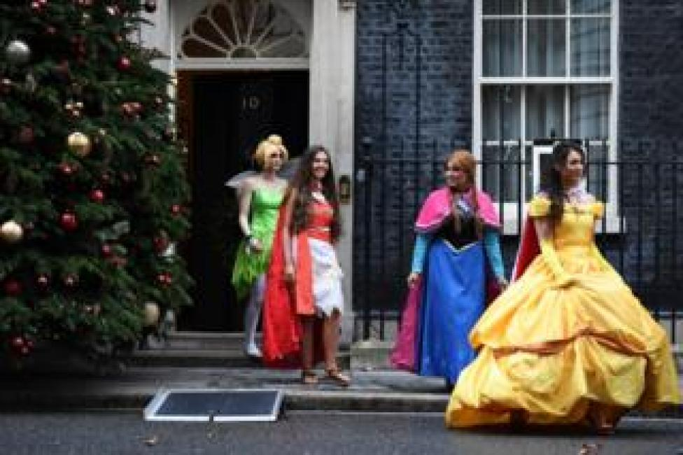 Costumed characters emerge from 10 Downing Street