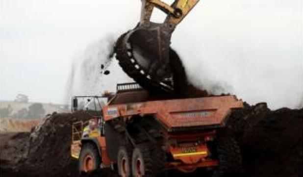 Truck being loaded with coal in Australia