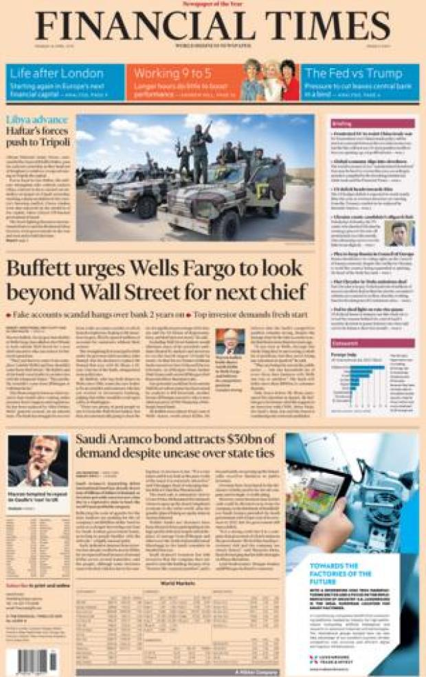 Financial Times front page, 8/4/19