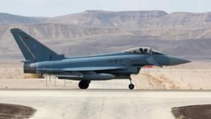 A Typhoon Eurofighter jet in Israel