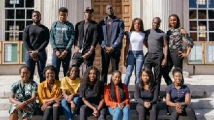 Stormzy with a group Cambridge students
