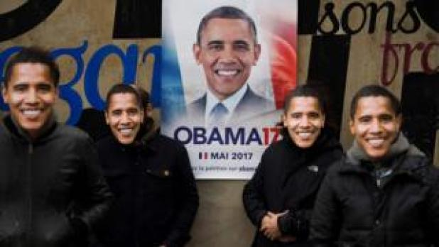 The four anonymous organisers of the Obama17 campaign in France, which has gone viral