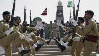"Pakistan""s army soldiers participate in a ceremony to mark Pakistani Defense Day, in Islamabad"