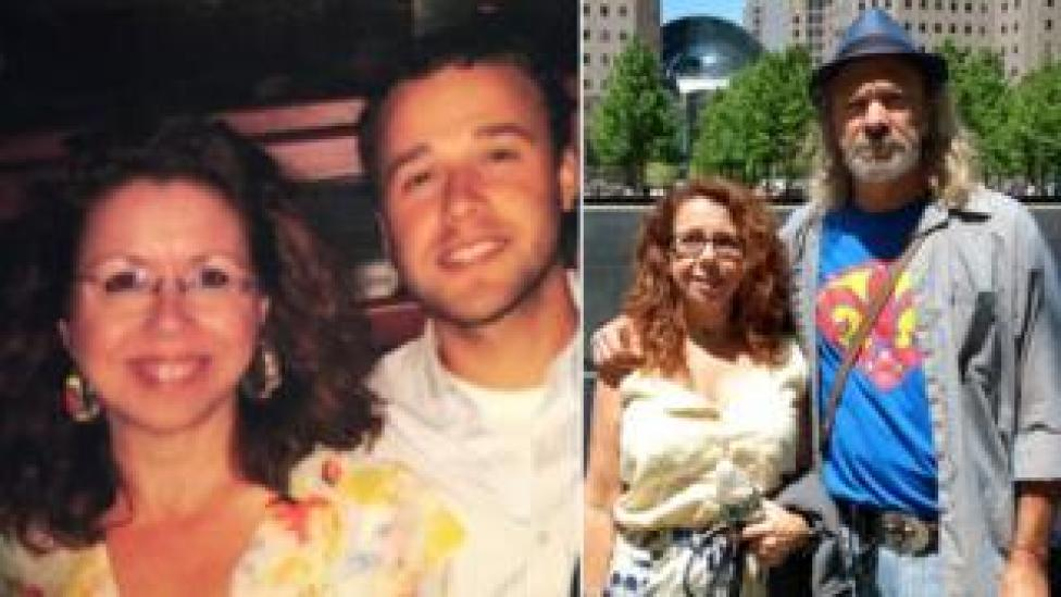 Kathy photographed alongside her adult son, as well as her husband in split image