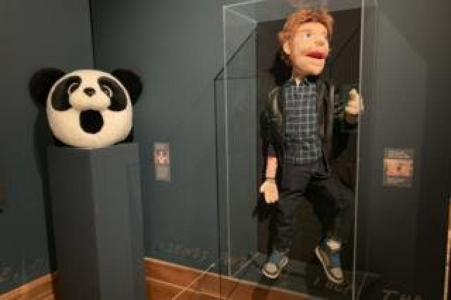 Ed Sheeran puppet and panda mask from I Don't Care video