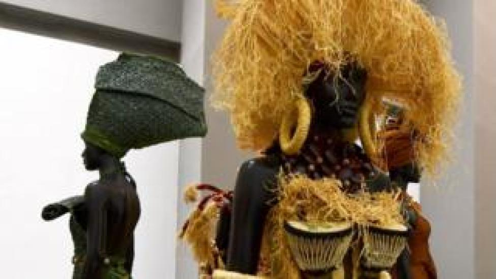Pieces of art are exhibited in the new museum of black civilisations, in Dakar, on December 6, 2018, during the opening ceremony and inauguration.