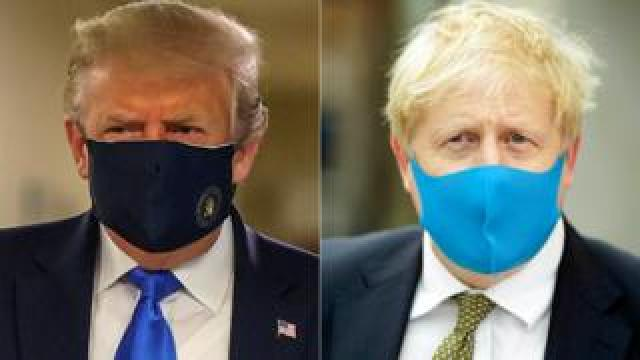 Composite image of Donald Trump and Boris Johnson wearing face masks