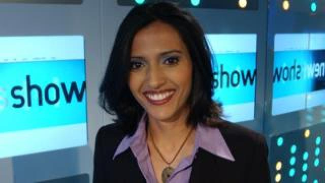 Tazeen Ahmad on the set of BBC Three's The News Show in 2003