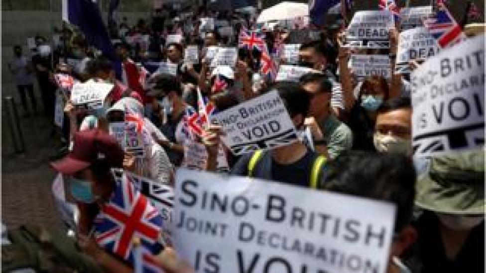 protesters at the UK consulate