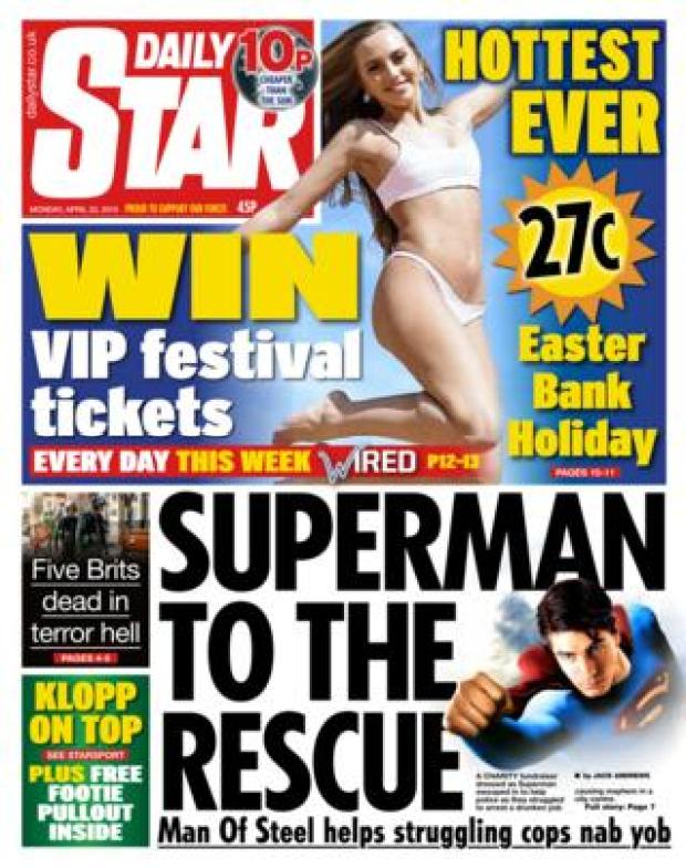 Daily Star front page 22/04/19