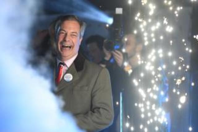 Brexit Party leader Nigel Farage looks delighted as Britain leaves the EU