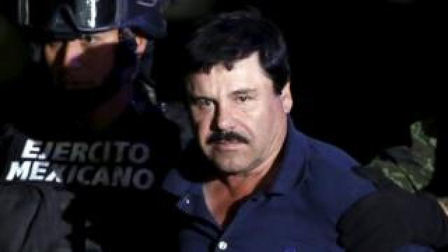 "Joaquin ""El Chapo"" Guzmán is paraded before the media after his arrest"