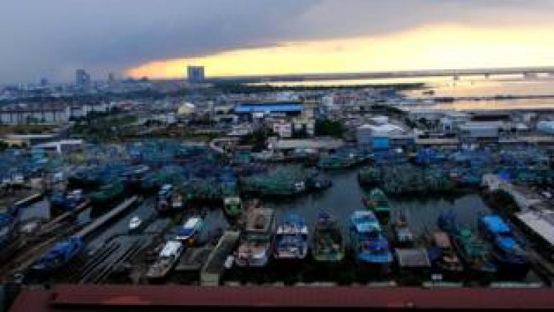 Picture of the fishing boats in North Jakarta.